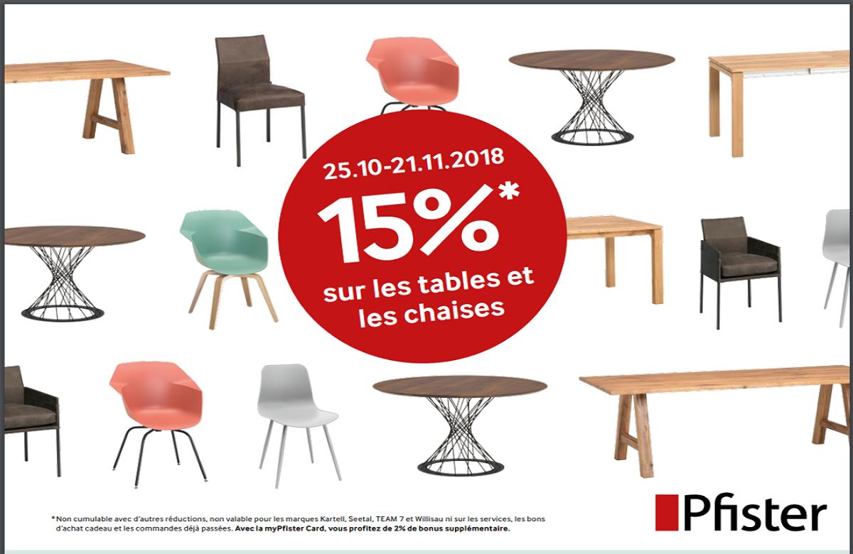 PFISTER |15% Tables et chaises|