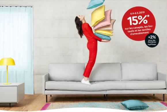 PFISTER |15% sur les canapés, fauteuils, tapis et textiles d'ameublement|